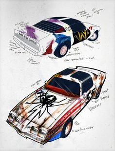 """Gerard's drawings for the Trans Am seen in the """"Na Na Na"""" and """"SING"""" videos for The True Lives of the Fabulous Killjoys"""