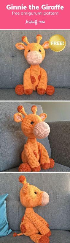 ideas crochet amigurumi giraffe free baby for 2019 Crochet Giraffe Pattern, Crochet Amigurumi Free Patterns, Crochet Animal Patterns, Stuffed Animal Patterns, Crochet Animals, Crochet Dolls, Knitting Patterns, Amigurumi Pikachu, Amigurumi Giraffe
