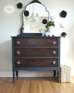 Salvaged Inspirations | Vintage Dresser & Mirror painted in Bluestone Cottage 'Vintage Velvet' Chalky Patina. Stained with #GeneralFinishes #Java Gel Stain .. best gel stain ever... Thanks GF!