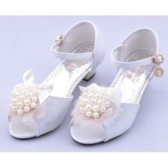 Ivory White High Heel Flower Girl Girls Pageant Party Dress Sandals SKU-133739