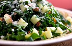 Kale Salad With Apples, Cheddar and Toasted Almonds or Pine Nuts: View this and hundreds of other vegetarian recipes in the New York Times Eat Well Recipe Finder. Kale Apple Salad, Kale Salad Recipes, Vegetarian Recipes, Healthy Recipes, Kale Salads, Whole30 Recipes, Healthy Dinners, Veggie Recipes, Nytimes Recipes