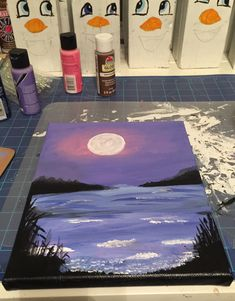 Purple night at the lake. Cute Canvas Paintings, Small Canvas Art, Easy Canvas Painting, Mini Canvas Art, Diy Painting, Painting & Drawing, Aesthetic Painting, Acrylic Art, Painting Inspiration