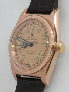 Rolex Rose Gilt Top and Steel Bubbleback Wristwatch circa 1940s image 3