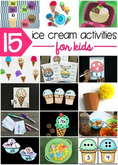 Awesome Ice Cream Activities for Kids! A roundup of fun reading, science and math activities for kids to do this summer! A great way to encourage summer learning! Simply Learning, Early Learning, Toddler Learning, Preschool Learning, Math Activities For Kids, Preschool Ideas, Teaching Ideas, Maths Fun, Kids Math