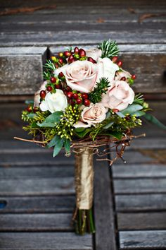 Christmas bouquet -- I wouldn't want to get married at Christmas, but this is beautiful.