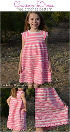 Carson Crochet Dress Pattern - The Carson Crochet Dress Pattern is a pretty spring dress! I designed this dress for my daughter Carson. This dress is TOTALLY her. Pretty, pink, and ruffle-y. Moda Crochet, Bag Crochet, Crochet Bebe, Crochet Woman, Free Crochet, Crochet Dress Outfits, Crochet Girls Dress Pattern, Dress Patterns, Crochet Patterns