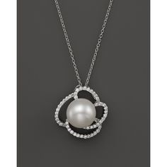 Cultured Freshwater Pearl Pendant Necklace with Diamonds in 14K White... (85 495 UAH) ❤ liked on Polyvore featuring jewelry, necklaces, white, white gold necklace, 14k white gold necklace, white diamond necklace, 14k necklace and freshwater pearl pendant necklace