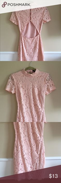 Pink Lace Dress w. Back Cutout Beautiful light pink lace dress with back cutout ad high neckline. New with tags! Forever 21 Dresses