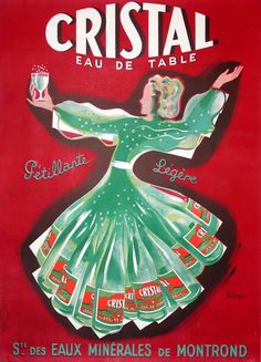 Cristal Eau de Table mineral water advertisement by Pierre Bellenger