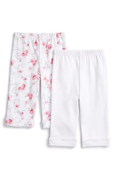 Little Me 'Rose Swirl' Cotton Pants (2-Pack) (Baby Girls)