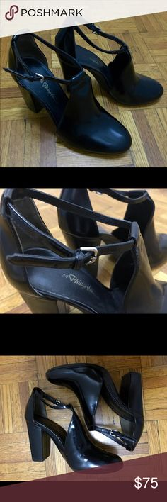 3.1 Phillip Lim Black Ankle Strap Bootie Sandal Shiny brushed cow leather Bootie sandal. Comfortable chunky heel, with front platform. Perfect day-to-night shoes that is versatile to style with anything - jeans, dresses, shorts/skirts. Worn a few times but still in great condition. Please message me if you want more photos or see a video. 3.1 Phillip Lim Shoes Ankle Boots & Booties
