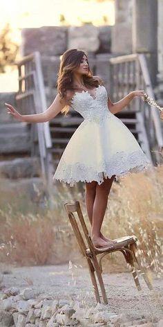 Amazing Short Wedding Dresses For Petite Brides ★ lace short bridal dresses 1 Wedding Attire, Wedding Gowns, Vegas Wedding Dresses, Wedding Dresses For Petite Women, Reception Dresses, Bridal Lace, White Bridal, Homecoming Dresses, Bridal Dresses