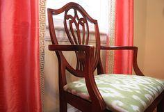 Coral silk curtains with Greek key trim