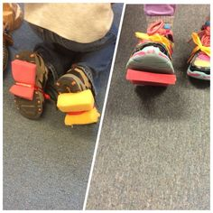 Space shoes: we tied sponges to the bottom of the children's shoes to simulate walking on the moon. We did this during our space unit in the pre k class.