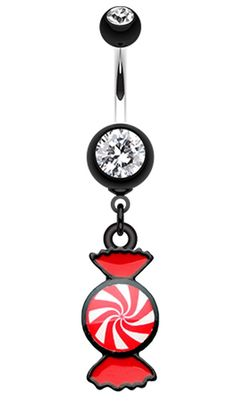 Sugar Swirls Candy Belly Button Ring - 14 GA (1.6mm) - Black - Sold Individually