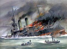 The Battle Of Tsushima, sinking of a Russian battleship