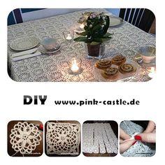 DIY Häkeltischdecke / crochet table cloth DIY Tutorial @ www.pink-castle.de