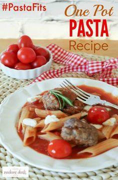Mouthwatering One Pot Pasta w/ Homemade Meatballs Recipe #PastaFits #MC #sponsored