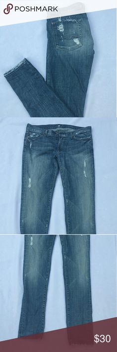 7 For All Mankind Skinny Jeans Distressed 7 For All Mankind jeans. Roxanne style/ skinny leg. TAG SAYS SIZE 31!!! In great condition. 95% cotton 5% spandex. Make an offer or bundle for a great deal!! 7 For All Mankind Jeans