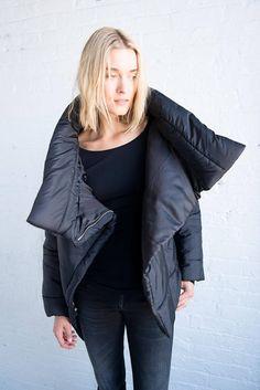 High Collar Jacket. Outerwear. Women's Clothing #marcellamoda #fashion #jackets #coats #winteroutfit #nyc #fashion #style Sale Clothes, Clothes For Women, Puffer Jackets, Winter Jackets, Stylish Coat, Black Puffer, Nyc Fashion, High Collar, Cold Weather