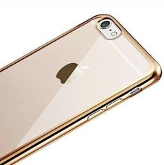 Gold Chrome Lined Electroplating iPhone 7 Transparent Soft Case