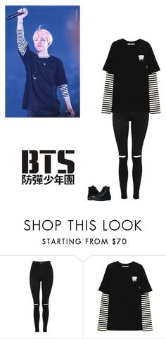 """""""Bts-jimin's concert outfit"""" by mochichimchim ❤ liked on Polyvore featuring Topshop, PèPè and Converse"""