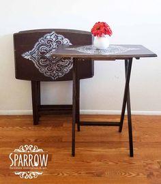Upcycled TV Trays DIY Tray Table Upgrade Painted Tray Table TV Tray Upcycled Stenciled Brown and White  https://www.facebook.com/SparrowFurnitureRestoration