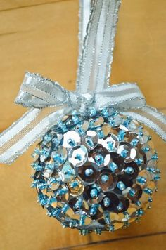 Create vintage inspired ornaments with styrofoam balls, sequins, seed beads, and sequin pins! www.blitsycrafts.com