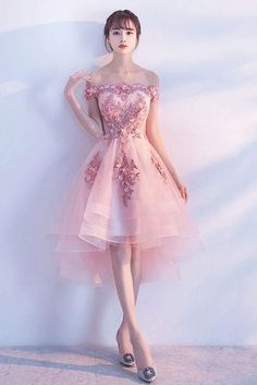 Homecoming Dresses UK,Buy Pink Lace Tulle Short Prom Dress,Off-the-Shoulder Appliques Lace up Homecoming Dresses on Smilepromdress Pretty Dresses, Sexy Dresses, Beautiful Dresses, Evening Dresses, Short Dresses, Fashion Dresses, High Low Formal Dresses, Pink Formal Dresses, Dress Formal