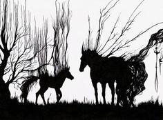 """Животные ручной работы. Ярмарка Мастеров - ручная работа. Купить Картина """"Лампады"""". Handmade. Графика, конь, грива, черная тушь"""
