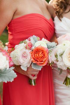 Coral bouquets Toni Chandler Flowers & Events  Photography: Deborah Zoe - deborahzoephoto.com  Read More: http://www.stylemepretty.com/massachusetts-weddings/2014/01/24/newport-wedding-at-the-regatta-place/
