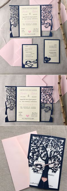 navy blue laser cut wedding invitations/ blush pink wedding invitations/ cheap wedding invitations #weddinginvitation
