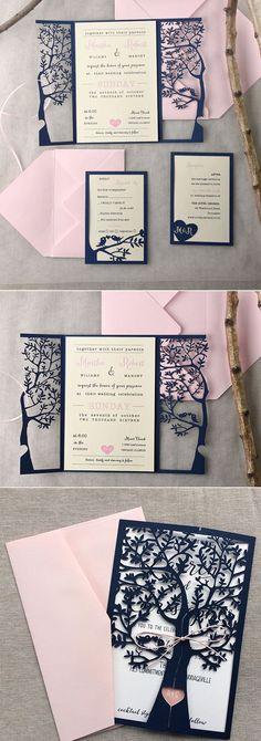 navy blue laser cut wedding invitations/ blush pink wedding invitations/ cheap wedding invitations