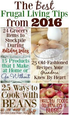 Check out the BEST frugal living tips from 2016 on gracefullittlehoneybee.com Food On A Budget, Budget Cooking, Budget Help, Living On A Budget, Simple Living, Cooking Tips, Frugal Recipes, Frugal Meals, Frugal Tips