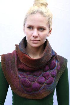 #Felted #Scarves - Nuno felted scarves - Felted Scarf - Felt Cowl - Avant Garde Nature http://www.lovelysilks.com