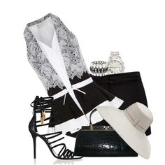 """""""Black and White Halter"""" by cavell on Polyvore"""