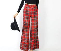 70s plaid bell bottom pants S vintage wide leg tartan by OmniaVTG