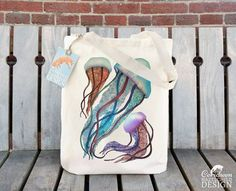 Jellyfish Fair Trade Tote Bag Reusable Shopper Bag Cotton Tote Shopping Bag Eco Tote Bag Reusable Grocery Bag by ceridwenDESIGN http://ift.tt/1RJG3sV