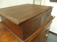 17th c. oak & pine carved document box