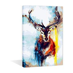 Moon /& Wolf 16 X 20 inch Linen Canvas Kits DIY Oil Painting Paint by Numbers New Paint by Numbers DIY Oil Painting Kits for Adults Beginner Kids with Frame