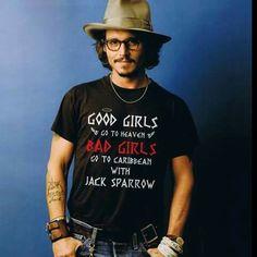 Johnny Depp with Jack Sparrow t-shirt