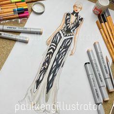 Fashion Illustration by @paulkengillustrator   Maison Margiela Autumn-Winter 2017 Couture