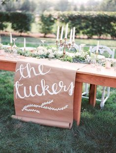 rustic wedding table decor with kraft paper