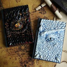 A couple of new dragon books I've made! Oh, sorry. - A couple of new dragon books I've made! Oh, sorry… sketchbooks! The covers are attached to very - Book Crafts, Clay Crafts, New Dragon, Dragon Book, Steampunk Accessoires, Sketchbook Cover, Handmade Books, Handmade Notebook, Journal Covers