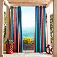 "Pier 1 Imports Catalan Striped 84"" Curtain ($70) ❤ liked on Polyvore featuring home, home decor, window treatments, curtains, stripe curtains, pier 1 imports, striped curtains, striped draperies and striped window treatments"
