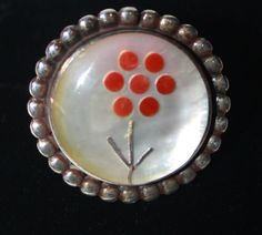 ZUNI VINTAGE 925 STERLING SILVER CORAL MOP INLAY RING SIGNED R. C. LASIBO SZ 7.5