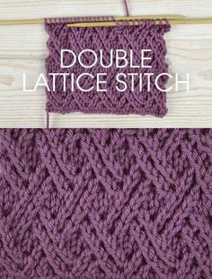 Free instructions for Knitting the Double Lace Lattice Stitch – Twisted stitch pattern worked over a multiple of 6 stitches plus 12 rows form. Knitting Stiches, Easy Knitting, Loom Knitting, Knitting Needles, Knitting Patterns Free, Knit Patterns, Stitch Patterns, Knit Stitches, Free Pattern