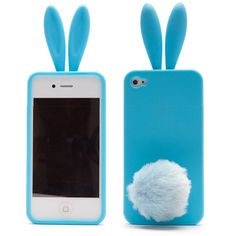 Bunny Case For iPhone 4S 4 With Silicone Rabbit Ear / Furry Tail Cover Blue