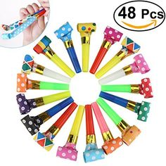 NUOLUX Party Horns Noisemakers Blowouts - 48pcs by NUOLUX, http://www.amazon.com/dp/B01GR74FMI/ref=cm_sw_r_pi_dp_1-FCzbXT1X6FD