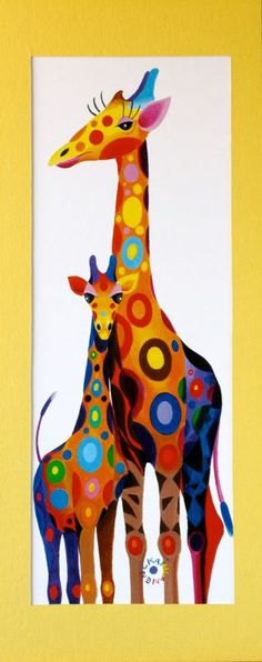 colored giraffes
